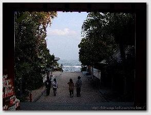 青島神社−境内より海を望む