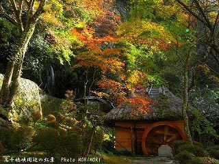 高千穂峡の紅葉|おのころ池脇の水車小屋3