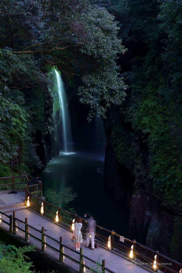 高千穂峡ライトアップ 2013年8月撮影